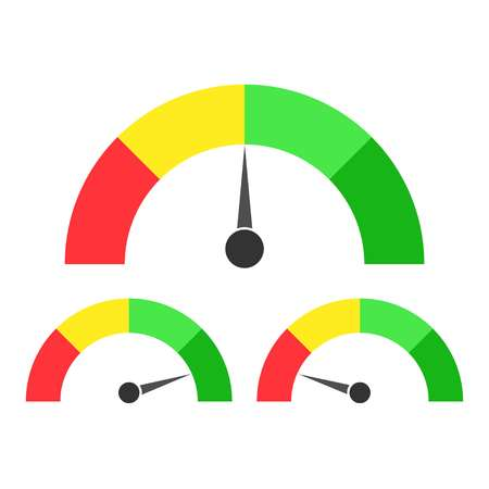 Speedometer icon or sign with arrow. Vector illustration. Иллюстрация