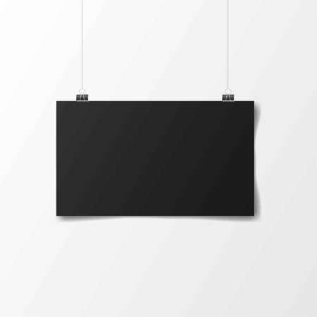 Black poster hanging. Mock up empty paper blank. horizontal template. Vector illustration Иллюстрация