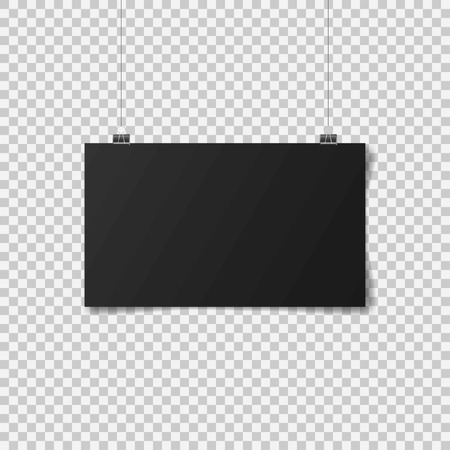 Black poster hanging. Mock up empty paper blank. Vertical and horizontal template. Vector illustration