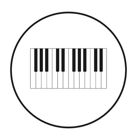 piano keys icon in black circle on white background, vector