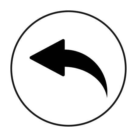 Back Arrow Icon, in black circle, Vector
