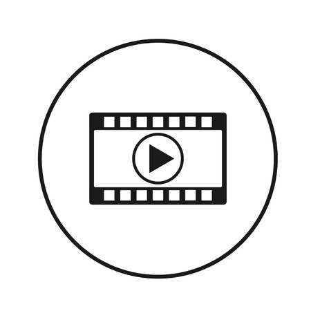 Video icon vector in the black circle, vector