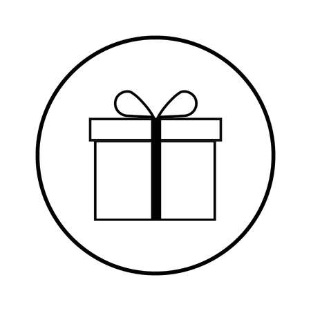 Gift Box icon vector in the black circle, vector