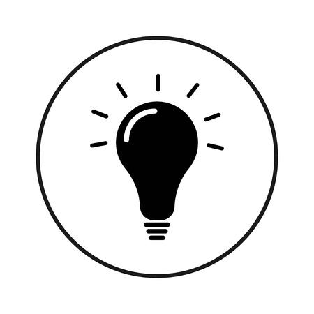 Light bulb vector icon in black circle