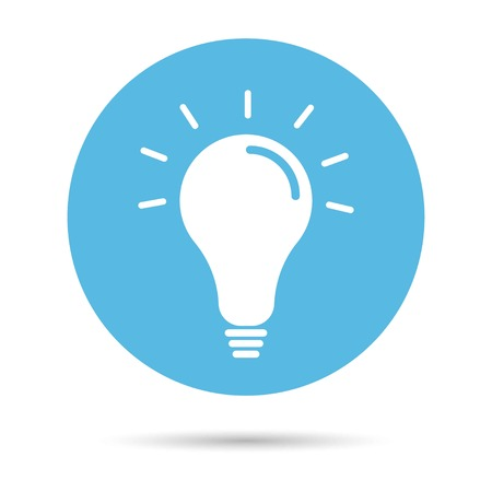 Light bulb vector icon on blue circle with shadow, vector