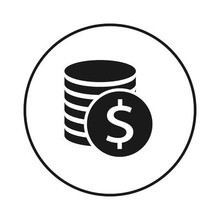 Coins Dollar Icon in black circle, vector