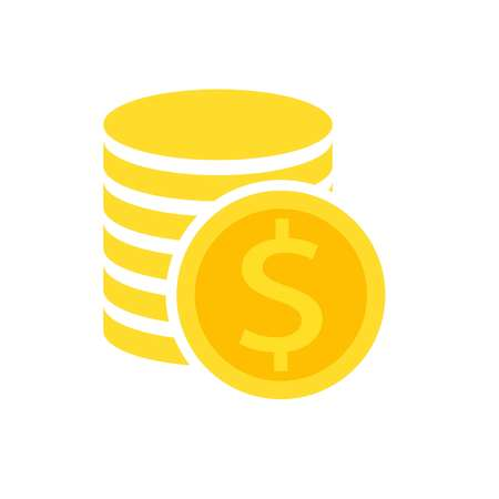 Coins Dollar Icon in the style of flat, vector