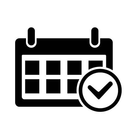 Date Check Icon. Icon on white background, vector