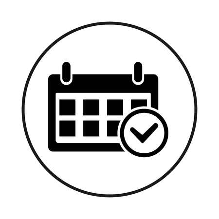 Date Check Icon. Black circle icon on white background, vector
