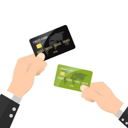 Hands holding credit cards on white background, vector