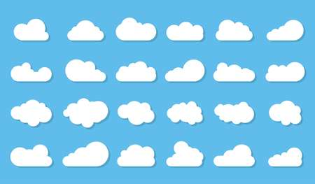 Clouds icon, vector illustration. Cloud symbol or logo, different clouds set on blue background