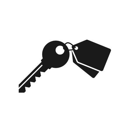 Key icon, vector illustration with keychain