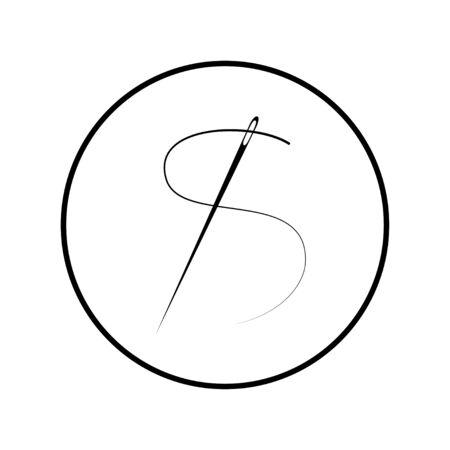 Nadelsymbol. Flache Vektorillustration im schwarzen Kreis