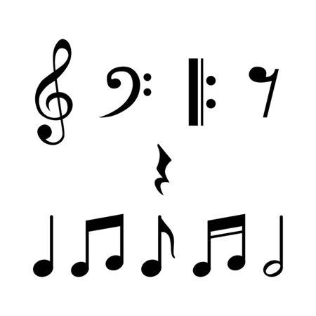 Musiknoten, Lied, Melodie und Melodievektor auf weißem Hintergrund