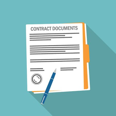 Contract signing. Flat style on a blue background. Vector illustration
