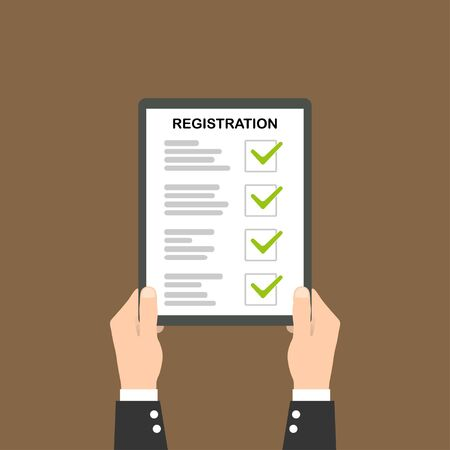 Man hold registration clipboard flat icon on brown background