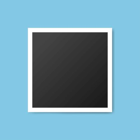 Black and white photo frames isolated on blue. Vintage style. Vector illustration