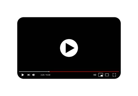 Classic black and white video player template. Vector illustration