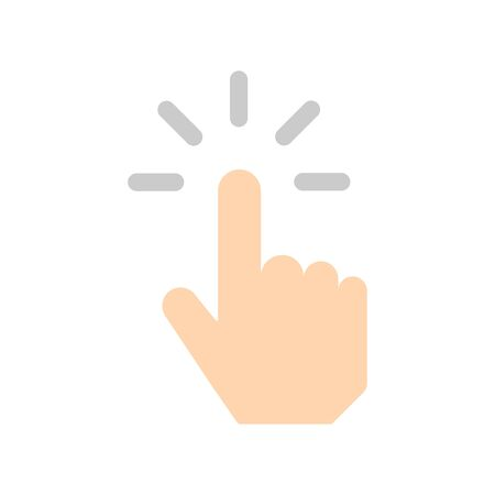 Clicking finger vector icon. Hand Click filled flat sign for mobile concept and web design. Finger touch gesture glyph icon.