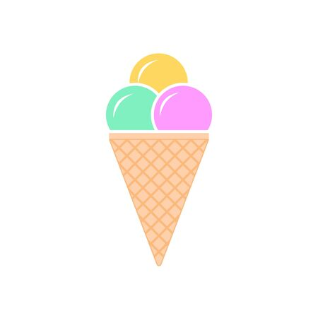 Ice cream scoops vector icon. filled flat sign for mobile concept and web design. Cone ice cream balls glyph icon. Ice Cream sign icon. Sweet symbol.
