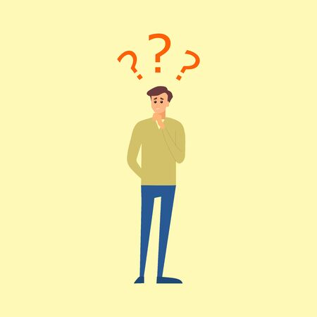 illustration business man with question marks, vector