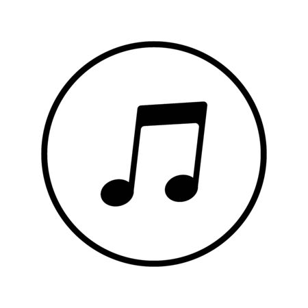 Music notes, song, melody and tune vector icon In the black circle Ilustração