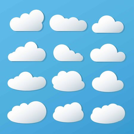 Clouds icon, vector illustration on blue background. Vettoriali