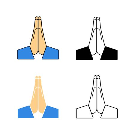 Vector folded hands icon on a white background