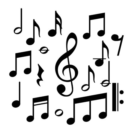Music notes, song, melody and tune vector on a white background Ilustracje wektorowe
