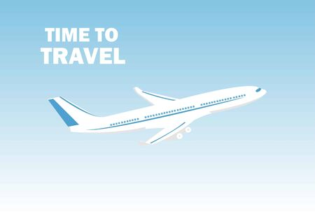 Airplane flies in the sky and cloud on blue background. Concept time to travel. Vector in flat style. Vector illustration Vetores