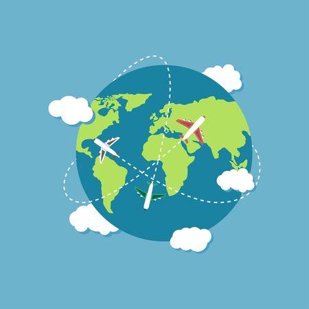 Plane flying around the world vector design illustration Иллюстрация