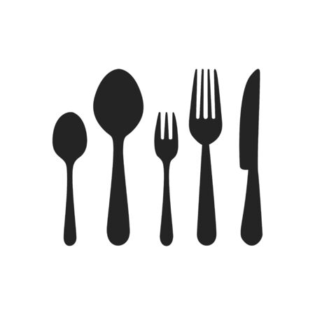 Vector cutlery set. Fork, knife. Flat style.  イラスト・ベクター素材