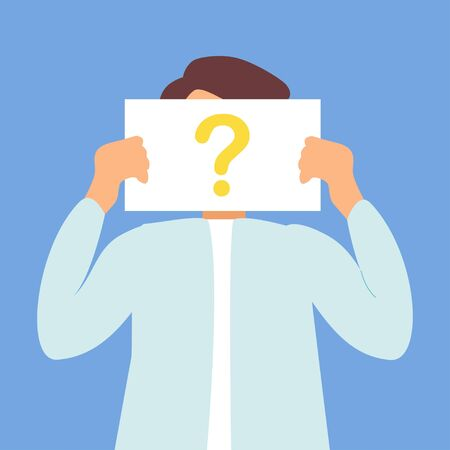 Anonymous man with question mark. Male person not identified by name, unknown faceless user, incognito with concealed profile, business secrecy or obscurity, blind date partner. Vector illustration
