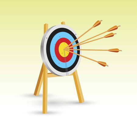 Arrows at the center of the target. Always dart in the target. Vector illustration. Isolated on white background.