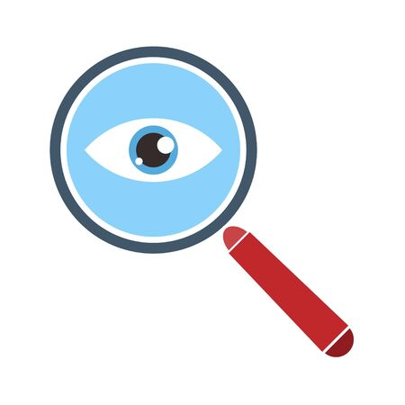 Magnifier with eye outline icon. Find icon, investigate concept symbol. Eye with magnifying glass. Appearance, aspect, look, view, creative vision icon for web and mobile - for stock
