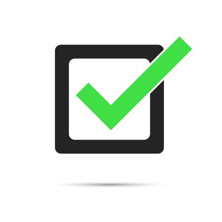 green check mark in black check box with shadow. tick right symbol isolated on white background. vector illustration