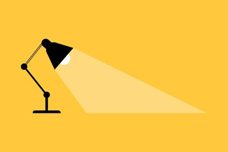 table lamp that shines on a yellow background. Vector illustration