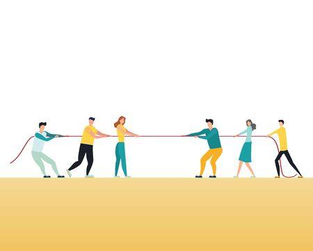 Business-Wettbewerb-Vektor-Konzept mit Teams im Tauziehen Zugseil. Symbol des Wettbewerbskampfes, des Kampfes, der Herausforderung für die Führung. Eps10-Abbildung