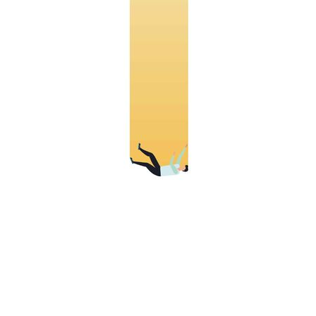 Business crisis and financial recession vector concept with businessman falling into a hole. Minimalist art style. Symbol of failure, decline, bankruptcy and loss. Vettoriali
