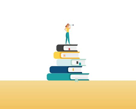 Education and professional career future vector concept with student on top of books with telescope look over wall. Symbol of knowledge, business, learning, studying and research. Eps10 illustration
