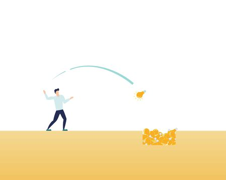man throws unwanted ideas into a hole. Vector illustration concept depicts useless and unrealizable ideas. Illustration