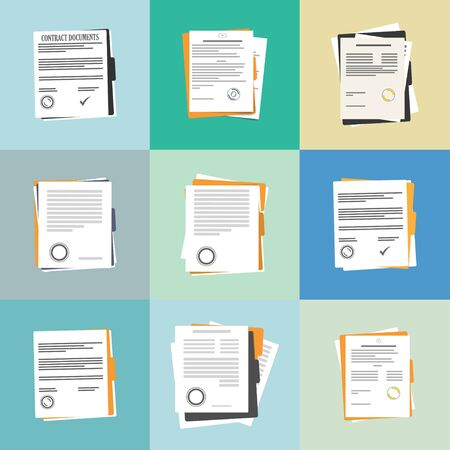 Contract or document signing icon. Document, folder with stamp and text. Contract conditions, research approval validation document. Contract papers. Document. Folder with stamp and text. Ilustração