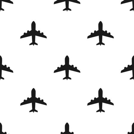 Airplane sign vector icon seamless pattern background. Airport plane illustration. Business concept simple flat pictogram on white background.