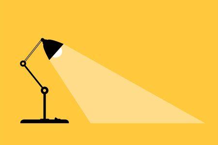 Table office desktop lamp. Place for your text. Lamps light lights. Flat vector illustration. Çizim