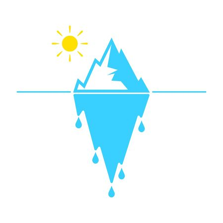 Glacier melting vector icon on white background