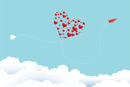 Valentine's day greeting card and love concept. A red plane flies, its path resembles a heart on clouds and a blue sky. The way of a somolet is like a heart in which there are many red hearts. Vector Ilustrace
