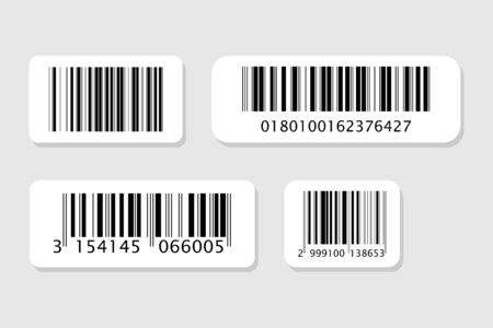 Business barcodes vector set. Realistic bar code icon. Vettoriali