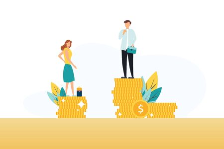 Businessman and businesswoman are standing on stacks of coins representing wages level. Vector illustration. Illustration