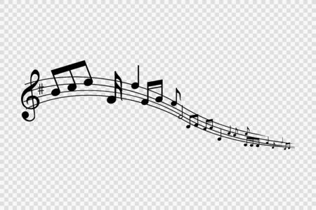 Music notes and symbols, musical design, isolated, vector illustration. Vector Illustration