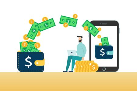 Online banking money transfer or withdrawal - business man making cash dollar transaction from wallet to mobile phone, isolated flat cartoon vector illustration